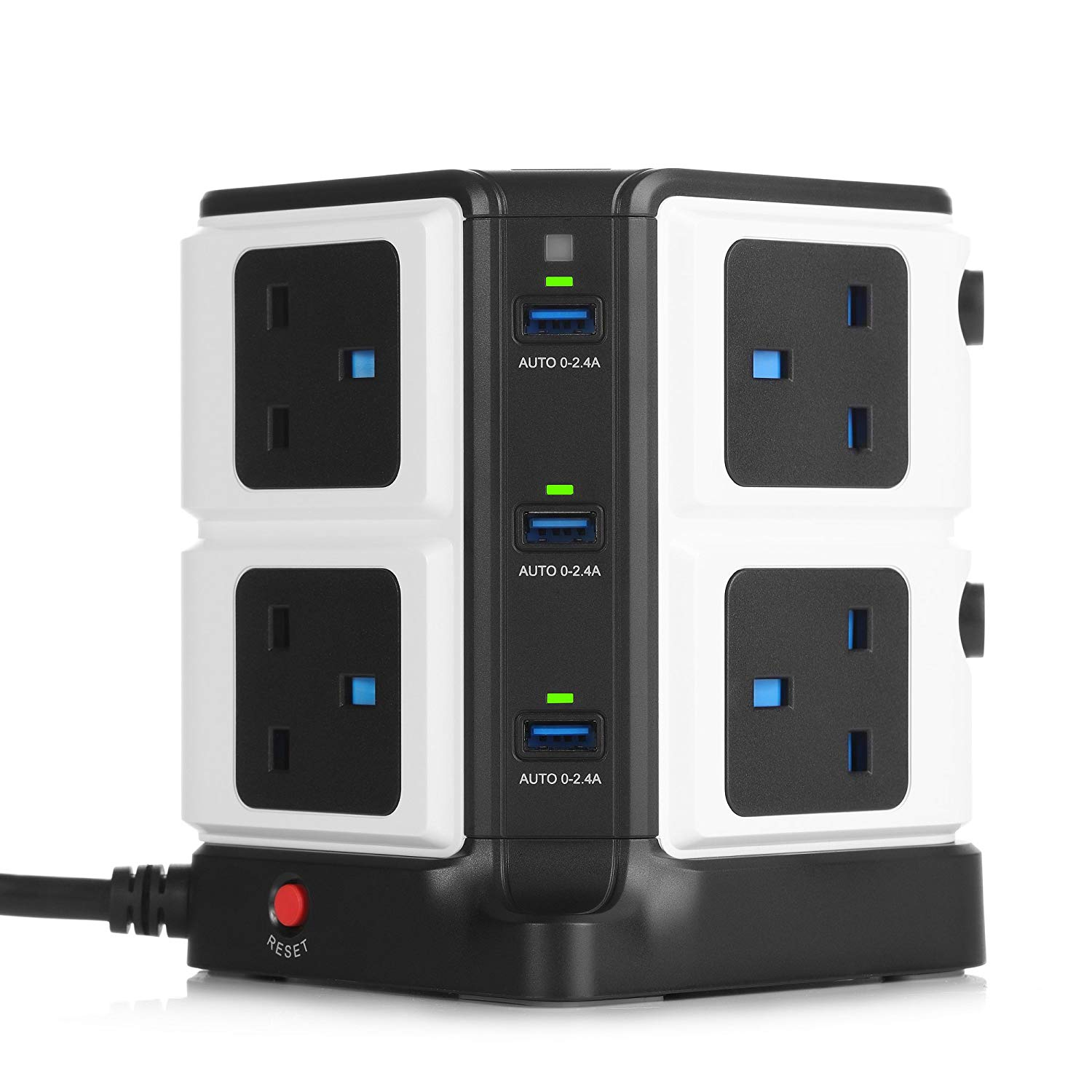 BESTEK 8 Way Surge Protected Tower Extension with 6-Port (5V/8A) USB Power Strip 3250W/1.8M-Black