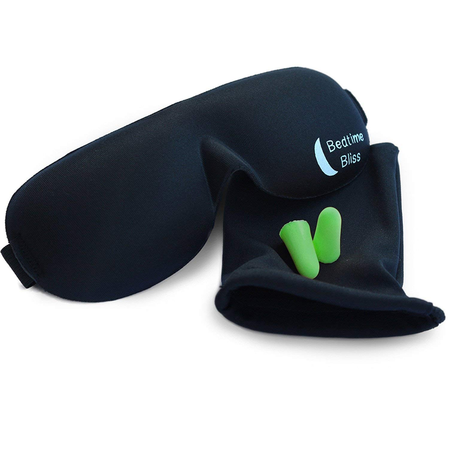 Bedtime Bliss – Comfortable Sleep Mask Set Carry Pouch and Ear Plugs Included