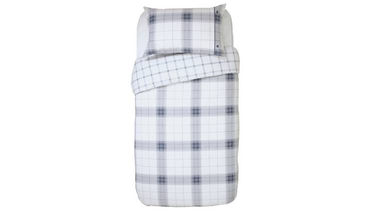 Argos Home Cosy Grey Brushed Check Bedding Set – Single
