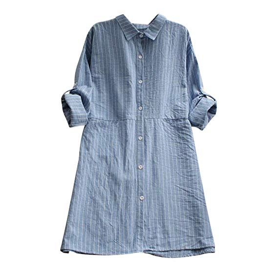 TIMEMEAN Long Sleeve Plaid Checked Shirt Dress