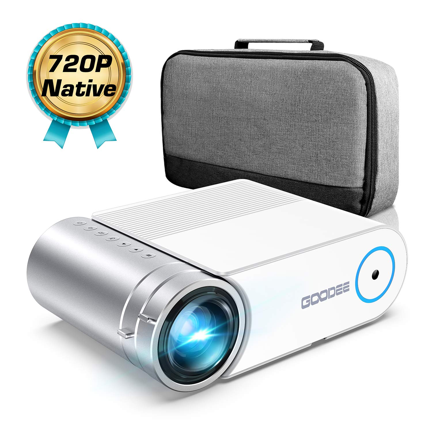Mini Projector, GooDee 4000 Lumens Portable HD Video Projector 200″ Display 1080p