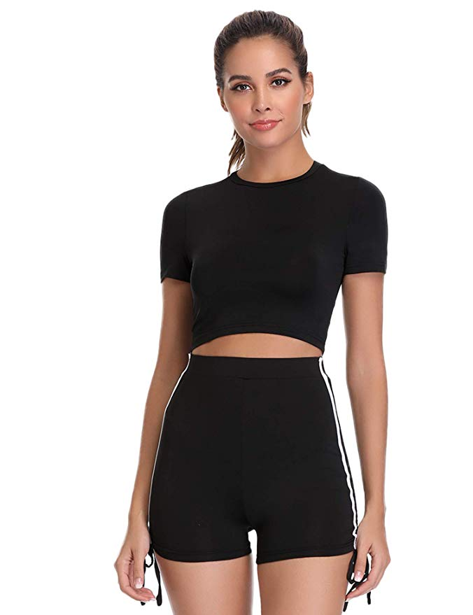 80% off Hawiton Womens Tracksuit 2 Piece Short Sleeve Top and High Waist Shorts Set