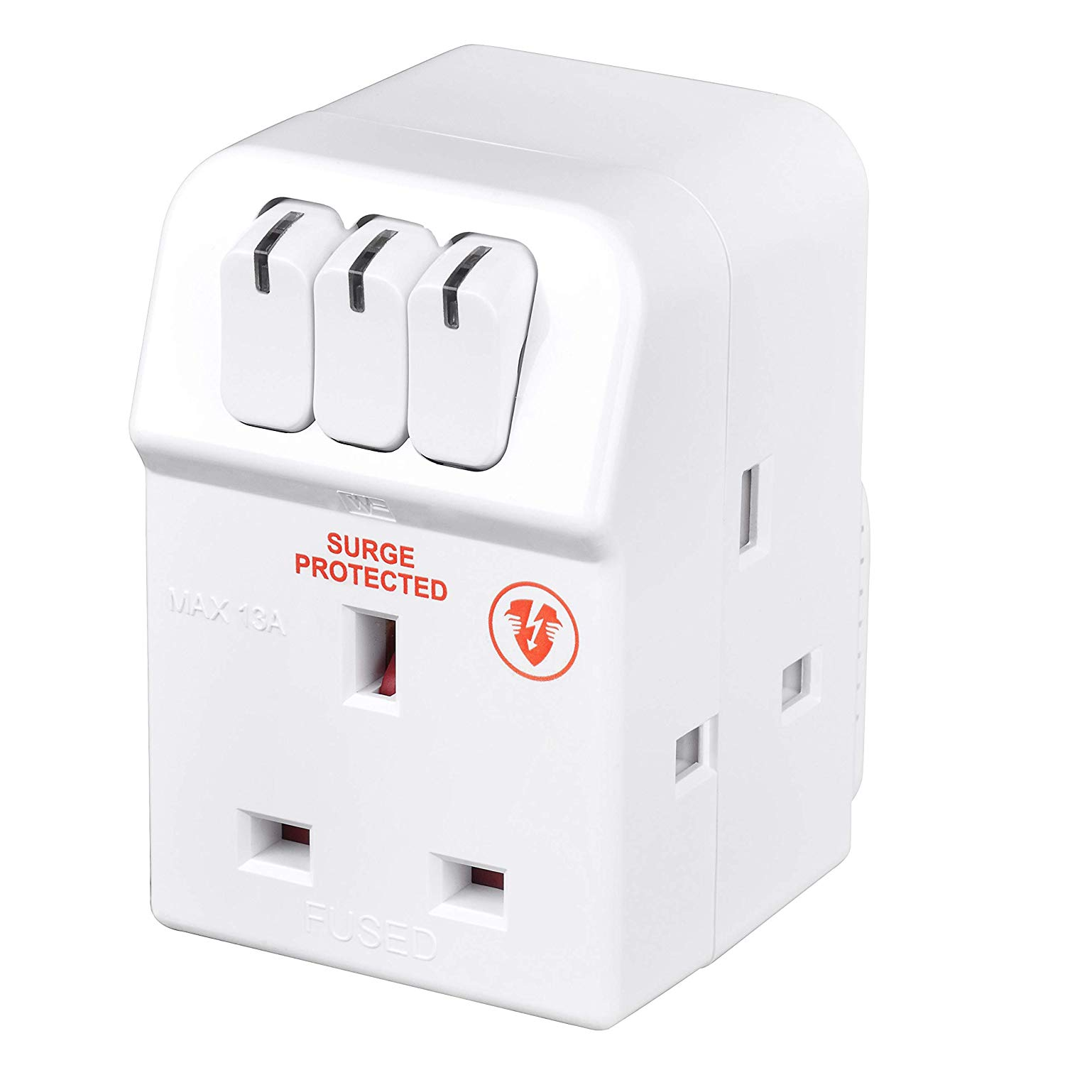 Masterplug Three Socket Surge Protected Adaptor with Individual Switches