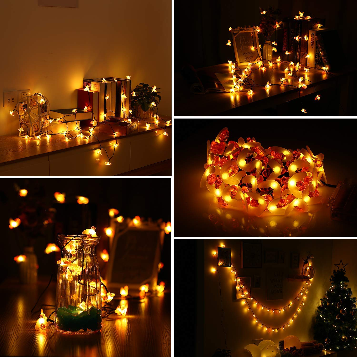 INLIFE Solar Bee String Lights, 23FT 50 LED Decorative Fairy Lights Battery Powered