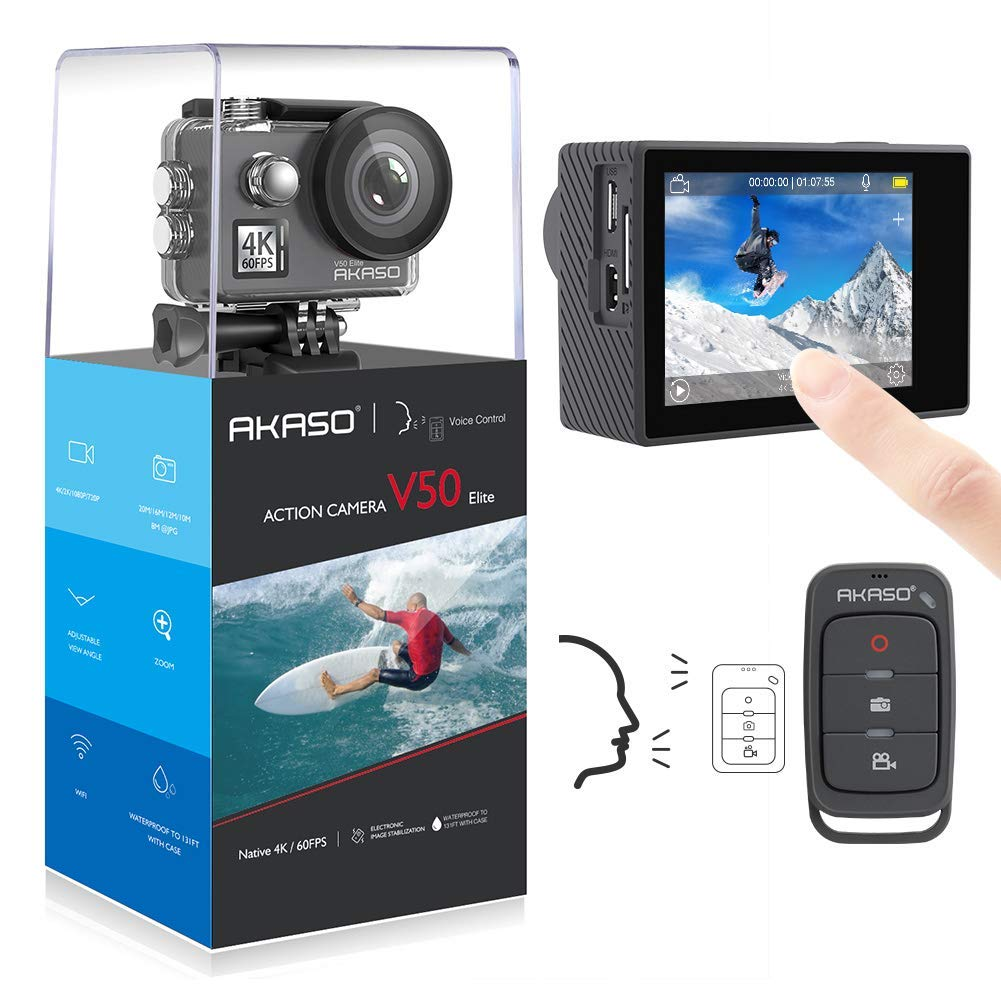 AKASO V50 Elite 4K/60fps Touch Screen WiFi Action Camera Voice Control EIS 40m Waterproof Camera