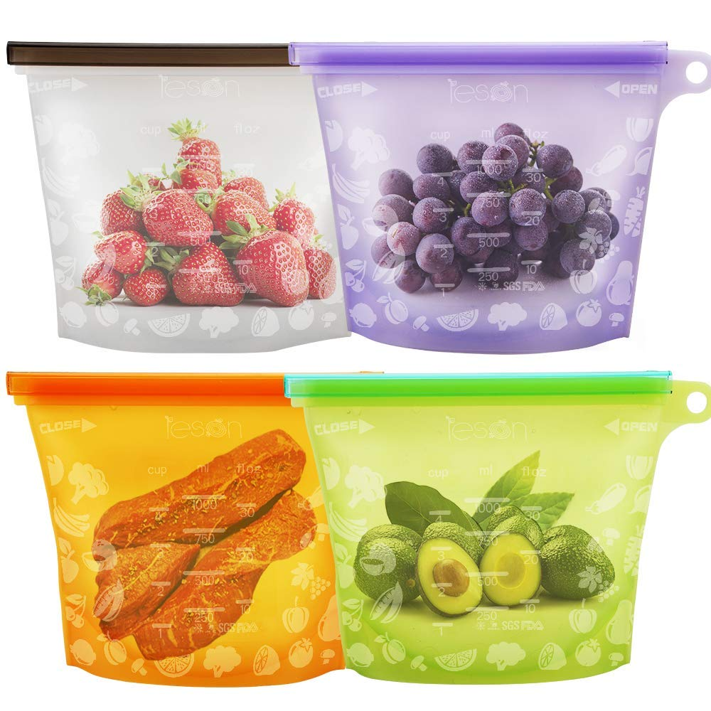 Reusable Food Storage Bags Stay Fresh Food Containers (4 Packs)