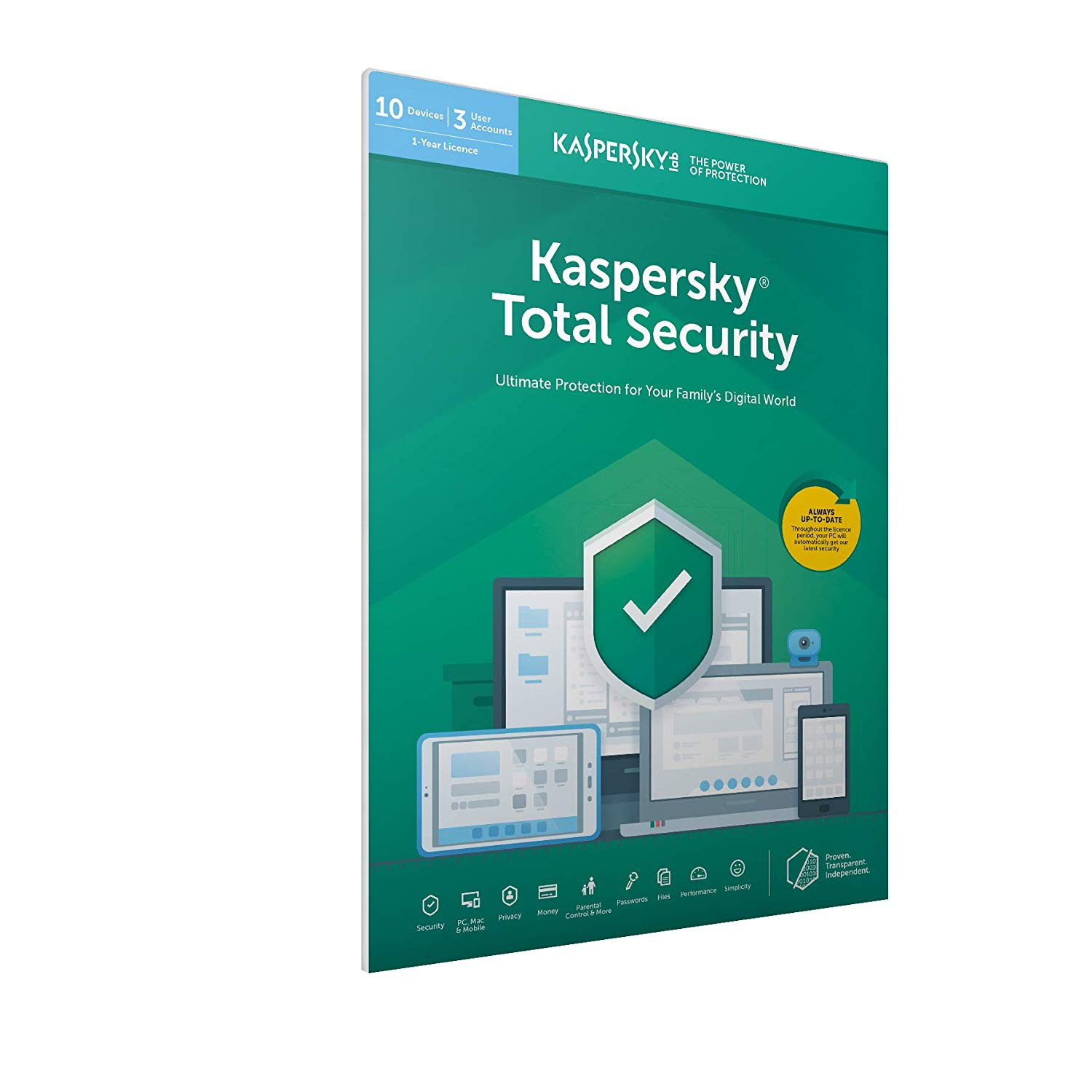 Kaspersky Total Security 2019 | 10 Devices | 1 Year | PC/Mac/Android | Activation Code by Post @Amazon