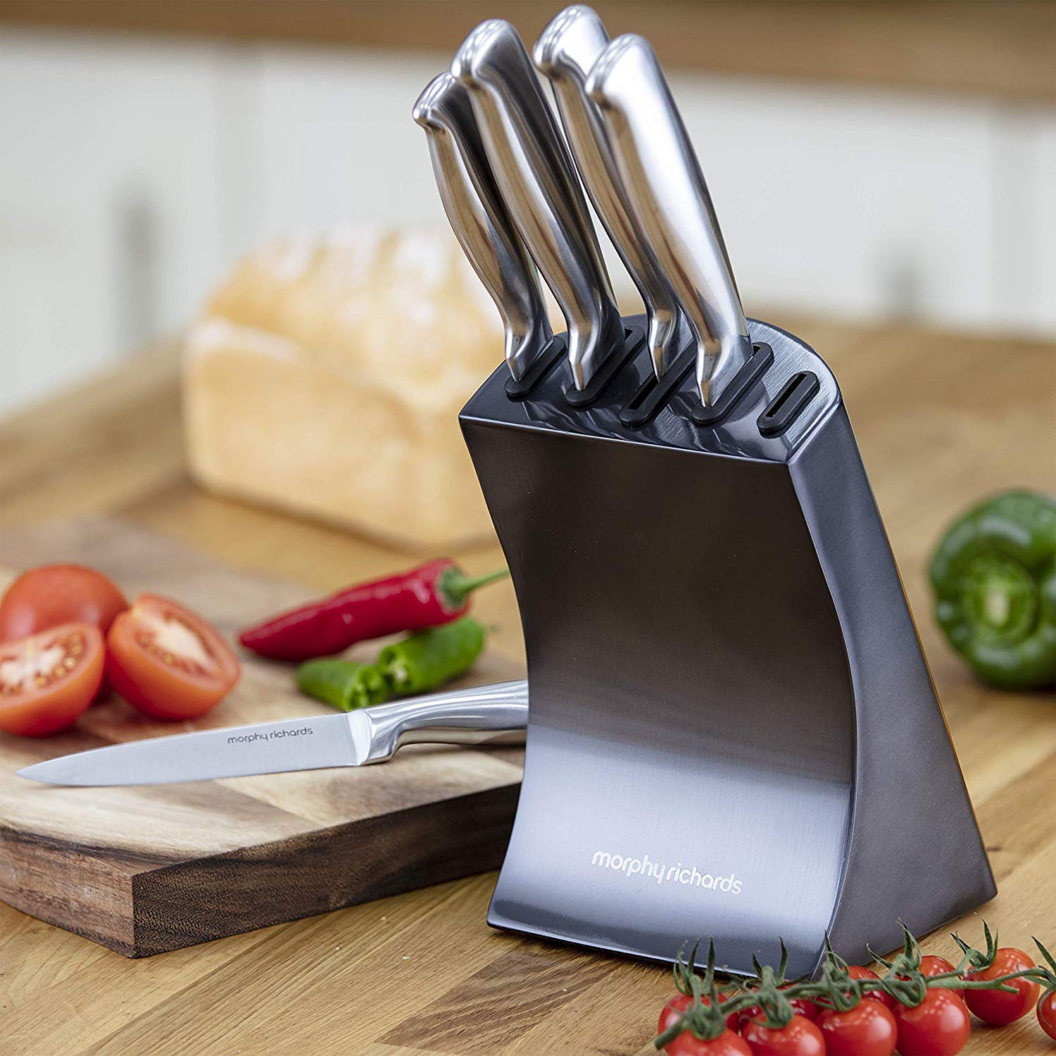 Morphy Richards Accents Knife Block, Satin, Stainless Steel Finish, 5 Piece -£39.99