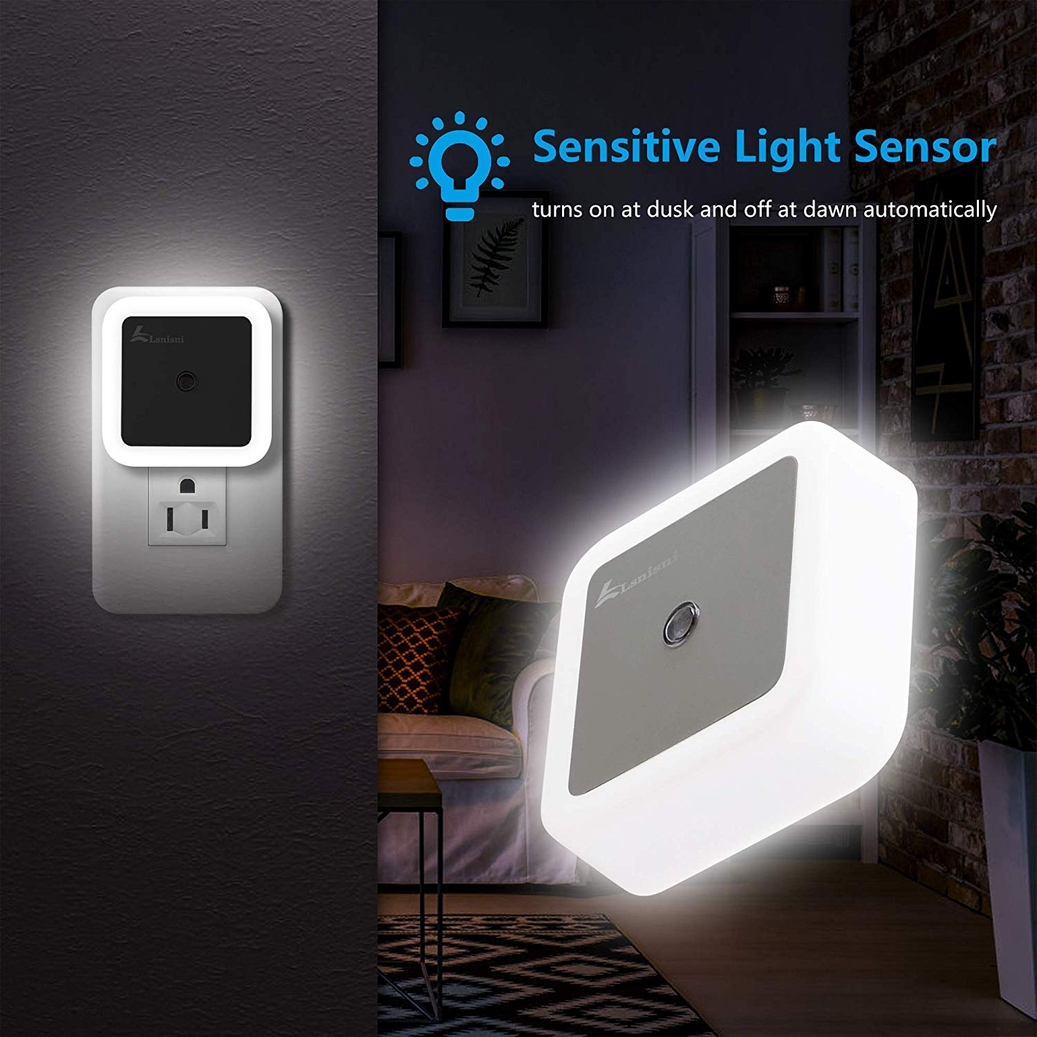 LED Night Light, Lsnisni(6 PCS) Night Light Plug in Wall with Dusk to Dawn Smart Sensor