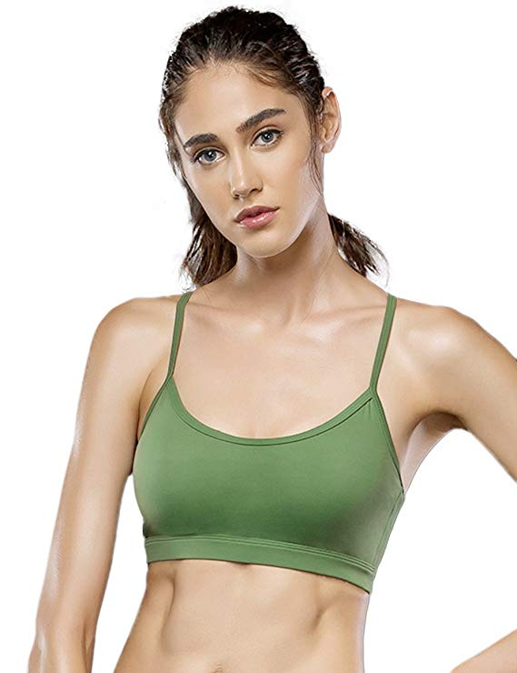 Women's Comfort Sports Bra Cross Mesh Back Padded Cami Yoga Bras