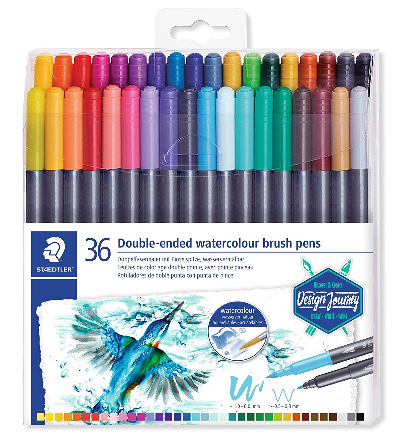 STAEDTLER 3001 TB36 Double Ended Watercolour Brush Pens, Pack of 36