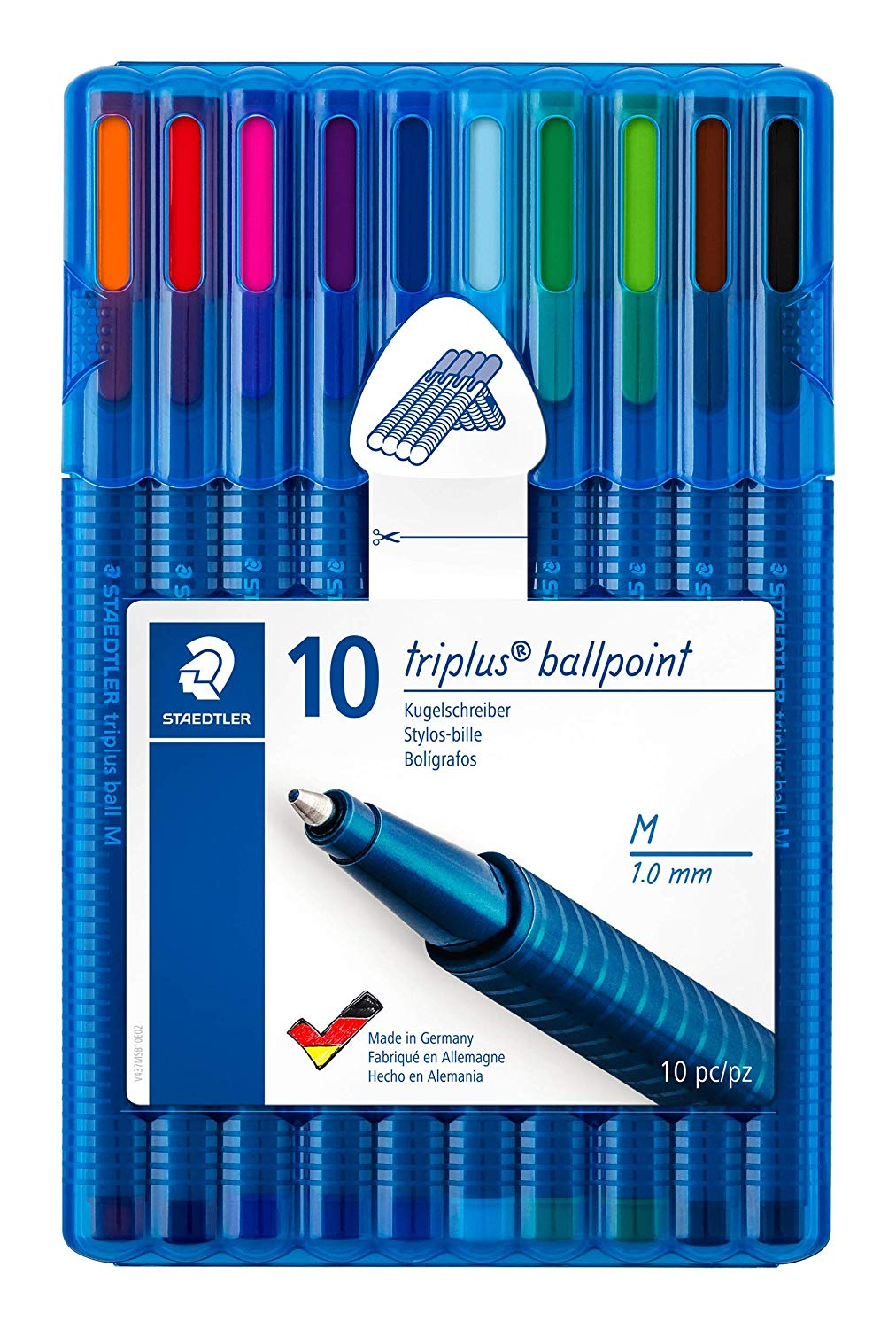 STAEDTLER 437 MSB10 Triplus Ballpoint Pen – Multi-Colour (Pack of 10)