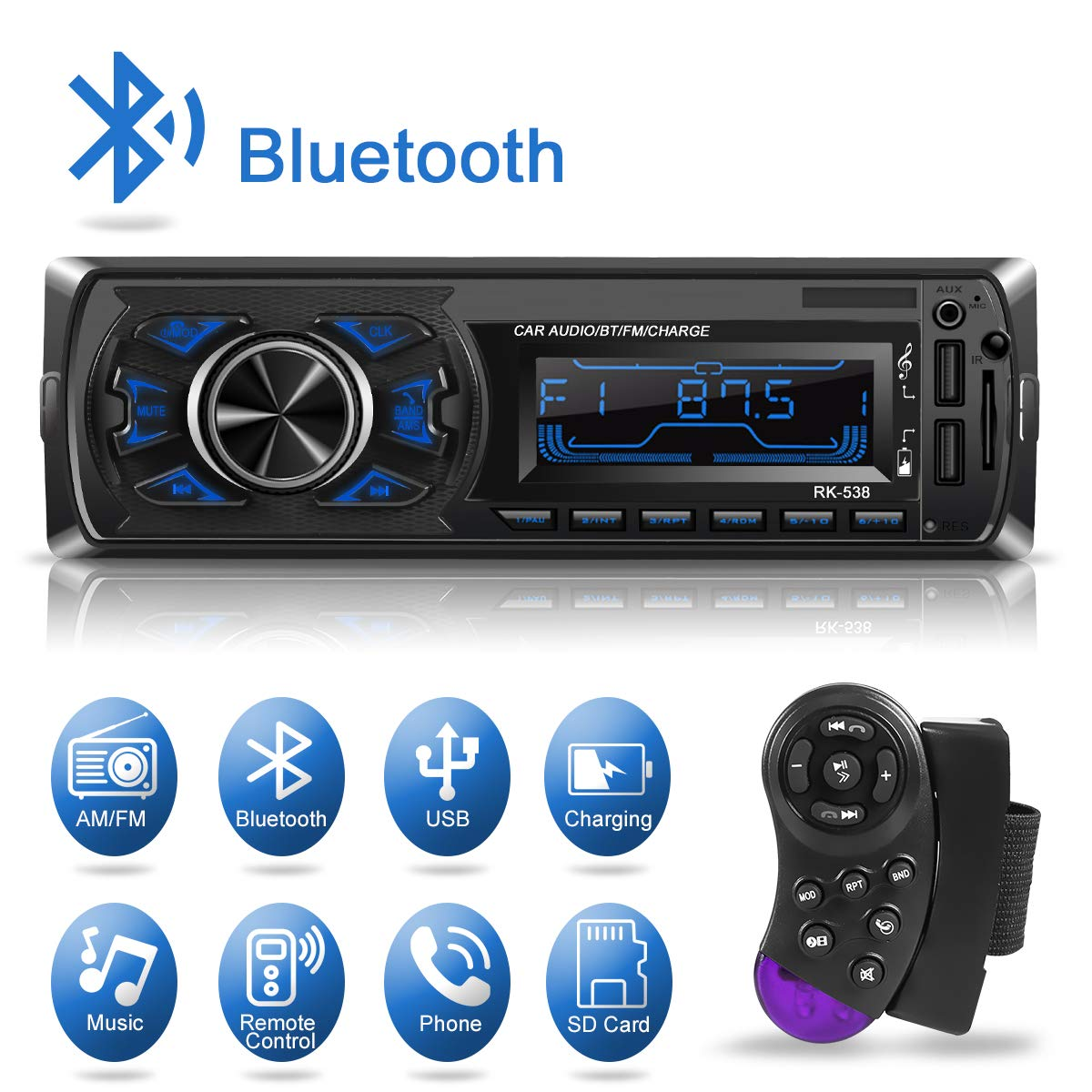 Kakanuo Car Radio Audio with 2 USB/TF/MMC/MP3 Player Receiver