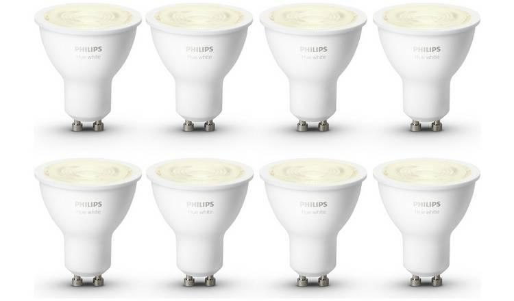 Philips Hue White GU10 Bulbs – 8 Pack at Argos