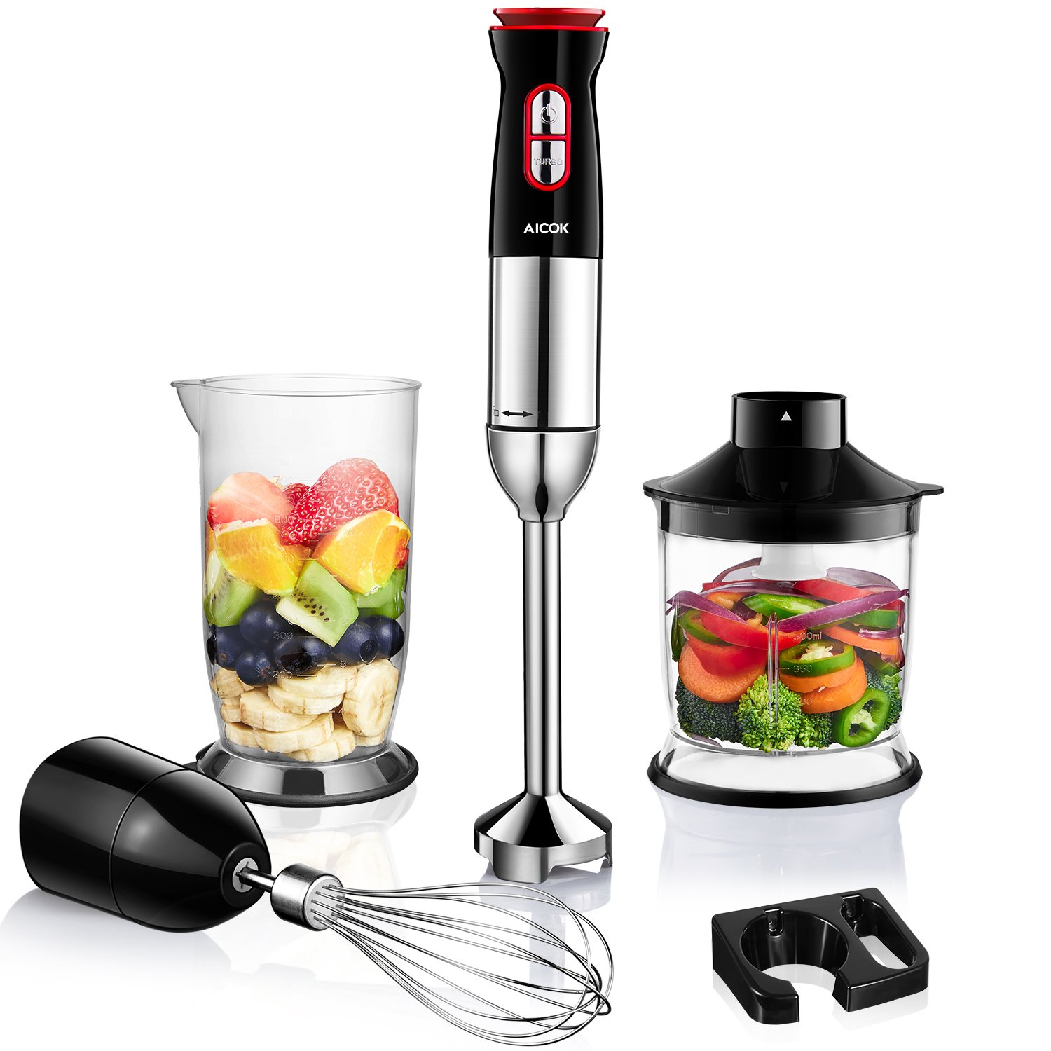 Hand Blender, Aicok 800W 5-in-1 Immersion Blender Set