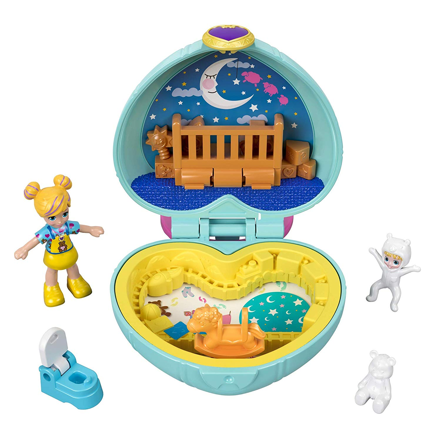 Polly Pocket GFM51 Teeny Tot Nursery Compact, Micro Dolls & Accessories Only £2.5