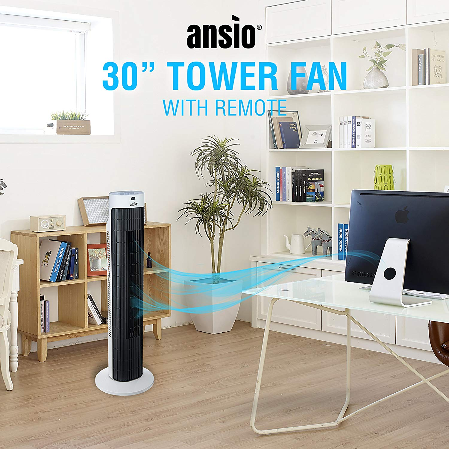 ANSIO Tower Fan 30-inch with Remote For Home and Office