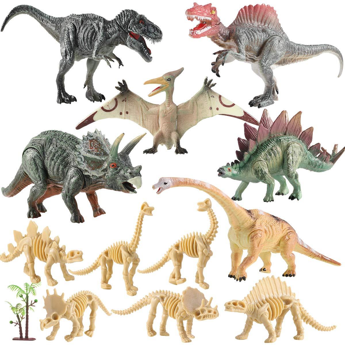 Geyiie 12pcs Dinosaur Toys Set, Realistic Dinosaurs Figures Party Supplies Playset