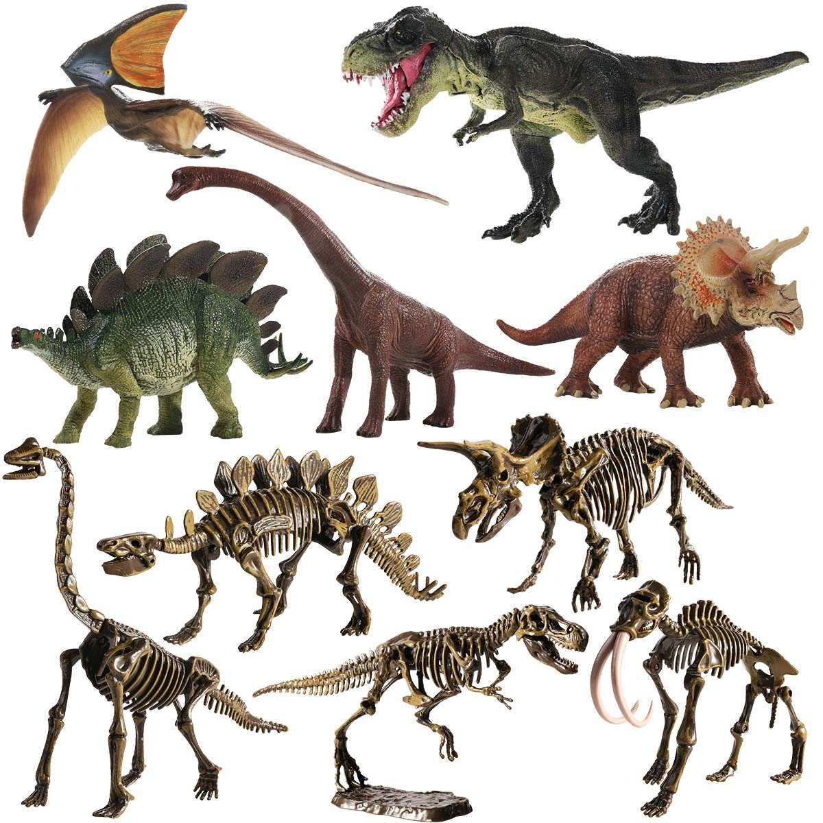 Geyiie 5pcs Realistic Dinosaur Toys Simulated Dinosaur Playset