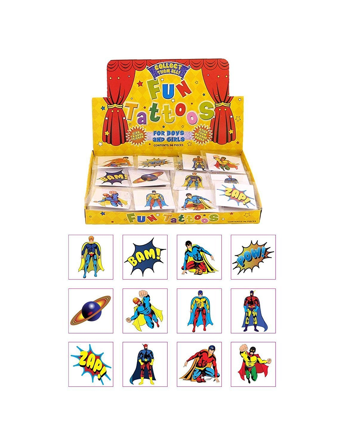 Henbrandt 24 Kids Super Hero Tattoos £0.85 FREE delivery at Amazon