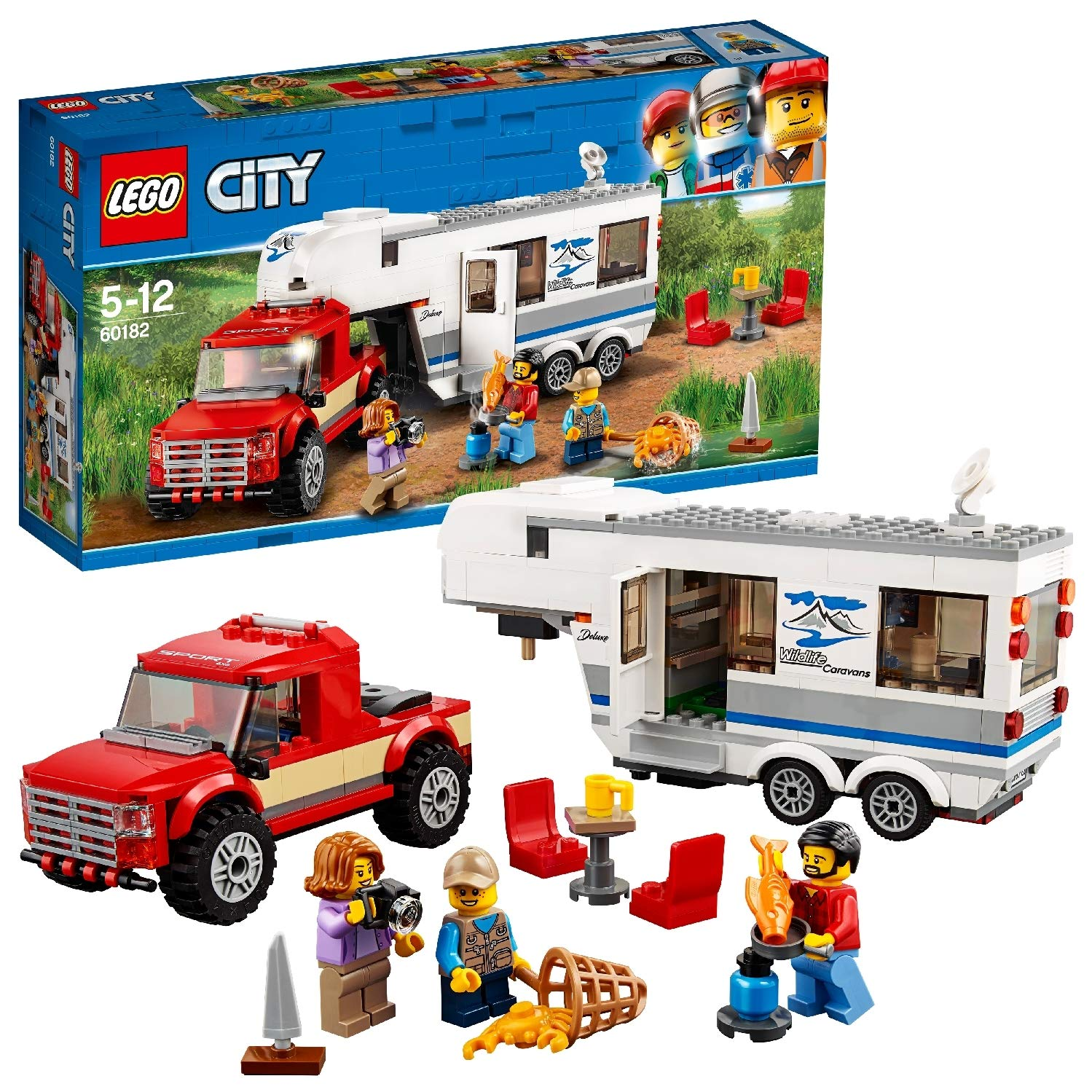 LEGO City Vehicles Pickup and Caravan Truck Toy with 3 Explorer Minifigures, Holiday Sets