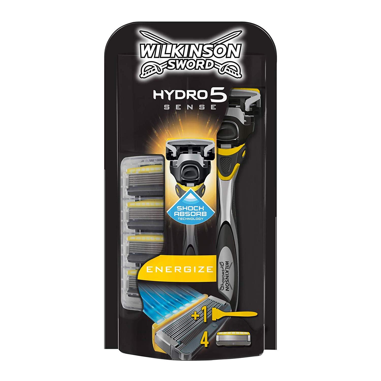 Wilkinson Sword Hydro 5 Sense Energizer Men's Razor with x 4 Blade Refills