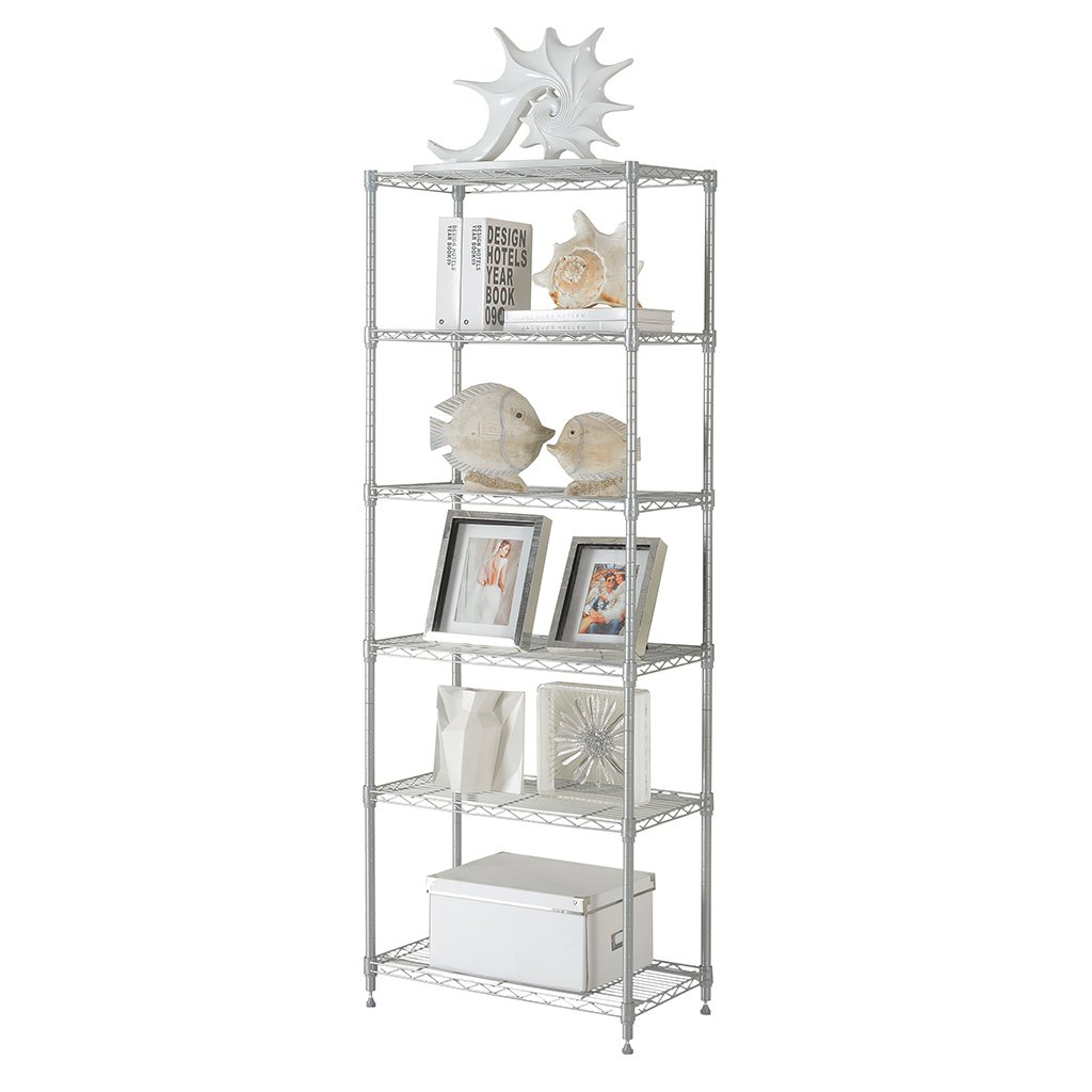 LANGRIA 6-Tier Modern Storage Organisation Rack and Shelving Set with 5 Hooks