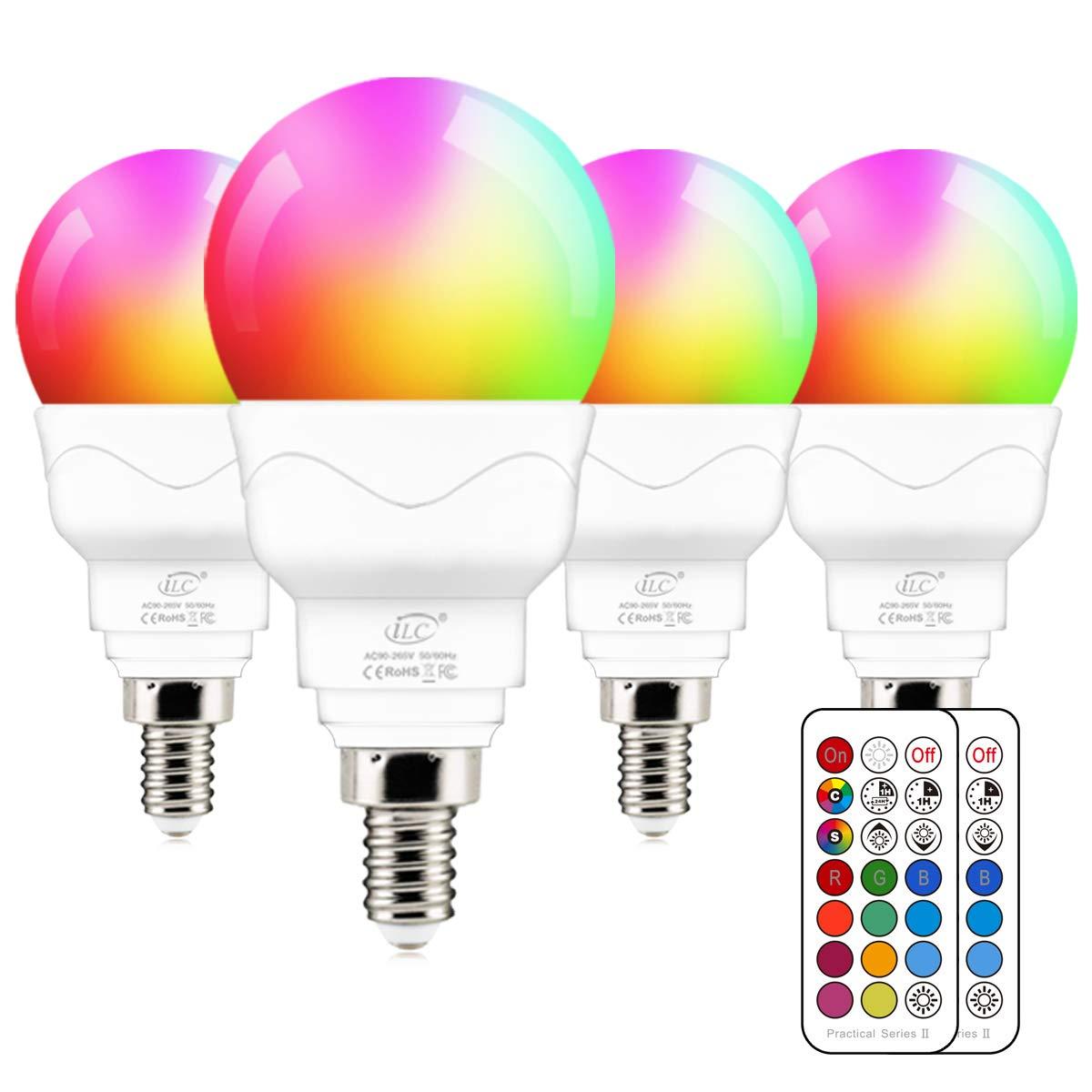 iLC E14 LED Light Bulb, 40W Equivalent, RGB Colour Changing, 5W 5700K Cool White  (4 Packs)