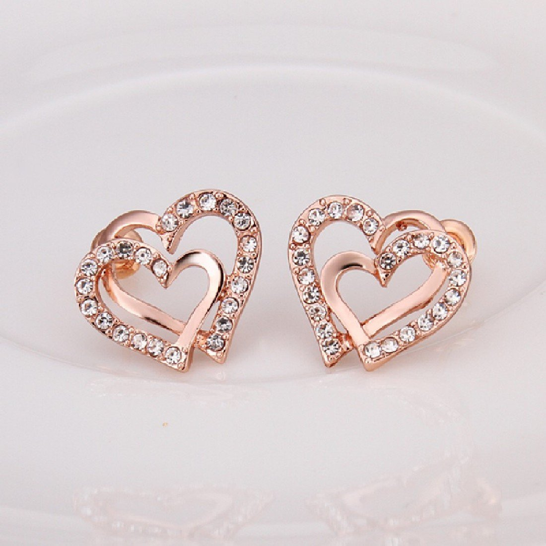 18k White Gold Plated Double Love Heart Shaped Earring