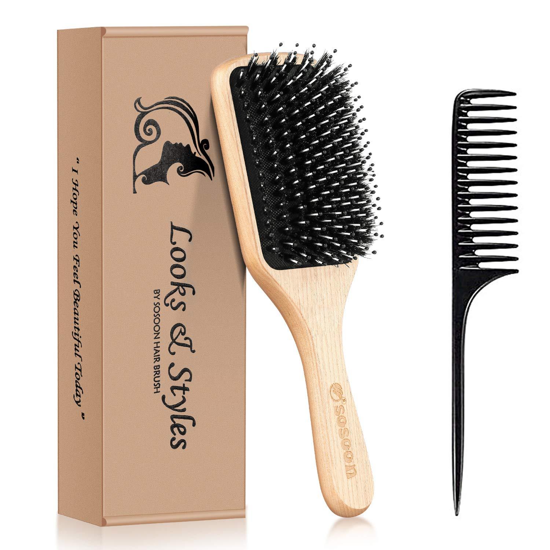Sosoon Boar Bristle Paddle Hairbrush