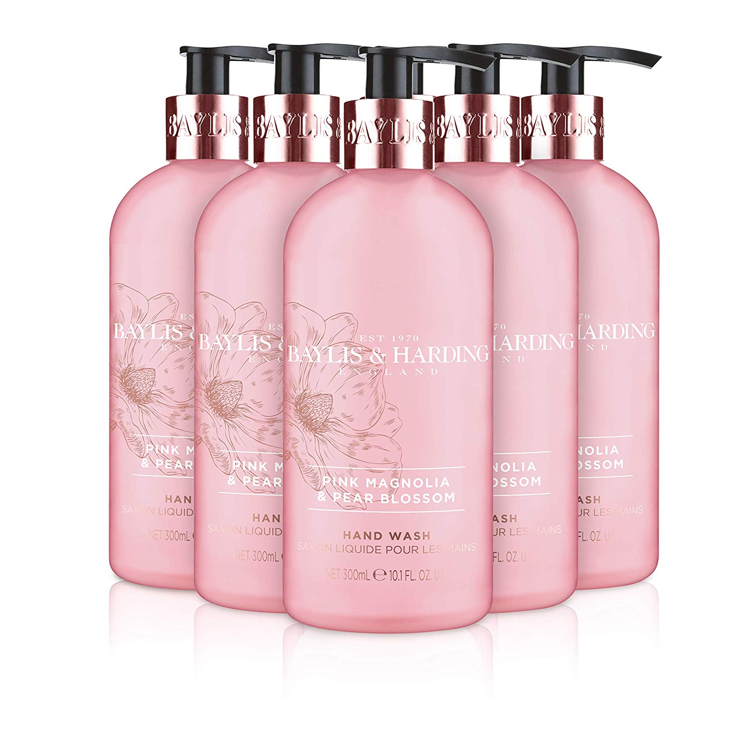 Baylis & Harding Hand Wash, Pink Magnolia and Pear Blossom, 300 ml, Pack of 6