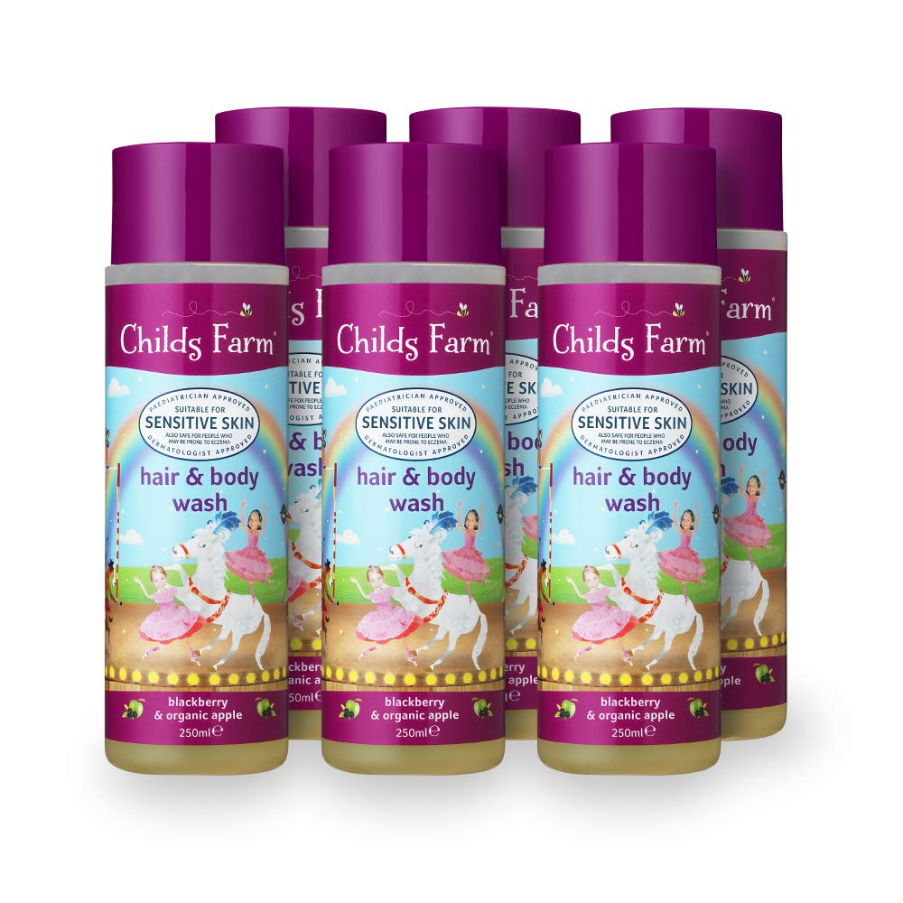 Childs Farm Hair and Body Wash, Blackberry and Organic Apple Extract, 250 ml, Pack of 6