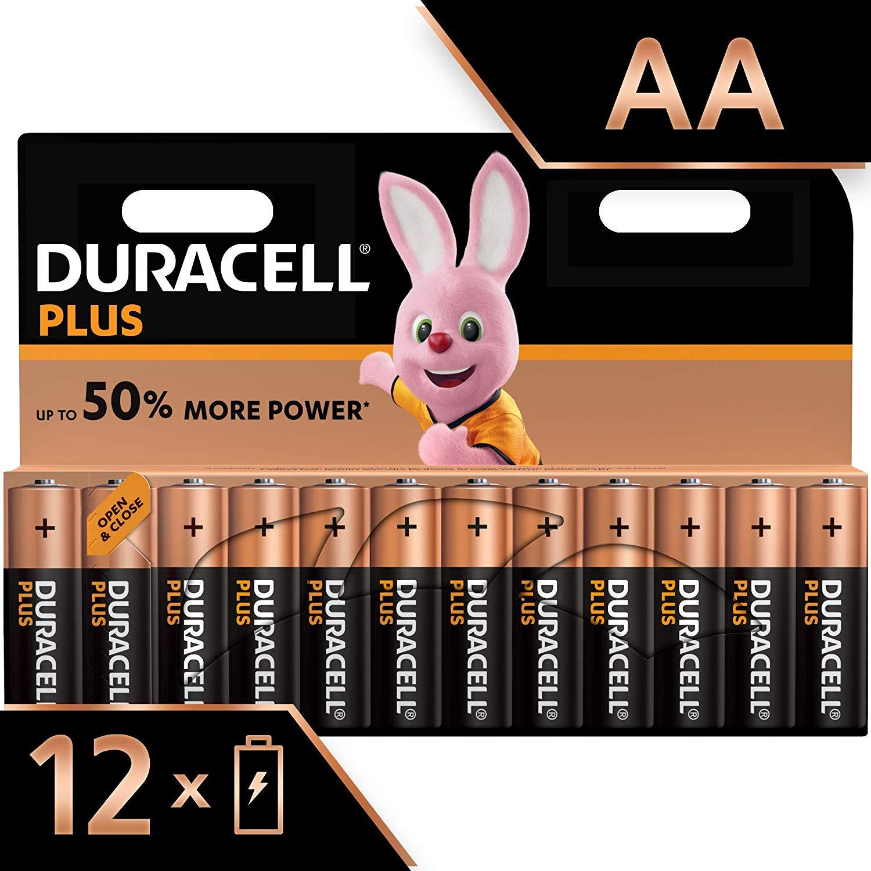 Duracell Plus AA Alkaline Batteries, Pack of 12