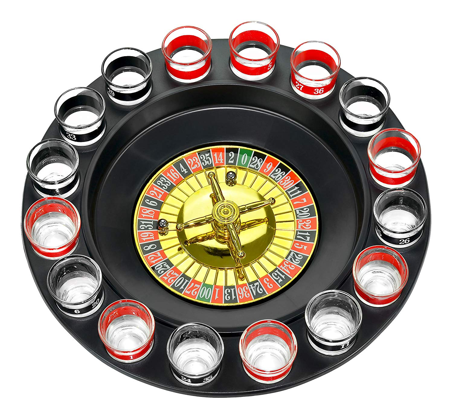 Drinking Roulette incl. 16 shot glasses for £6.9 at Amazon