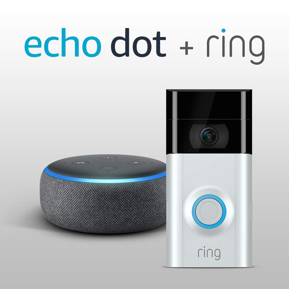 The New Echo Dot – Charcoal Fabric plus Ring Video Doorbell 2 – £139