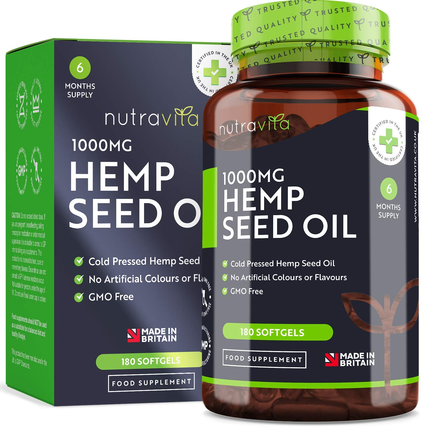 Hemp Oil 1000mg Supplement – 6 Months Supply – New Enriched Formula – £15.99