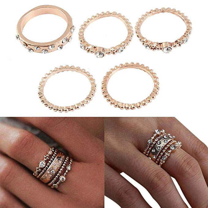80% off Boho Style Vintage Stacking Rings Sets for Women Joint Knuckle Ring Set 5PCS