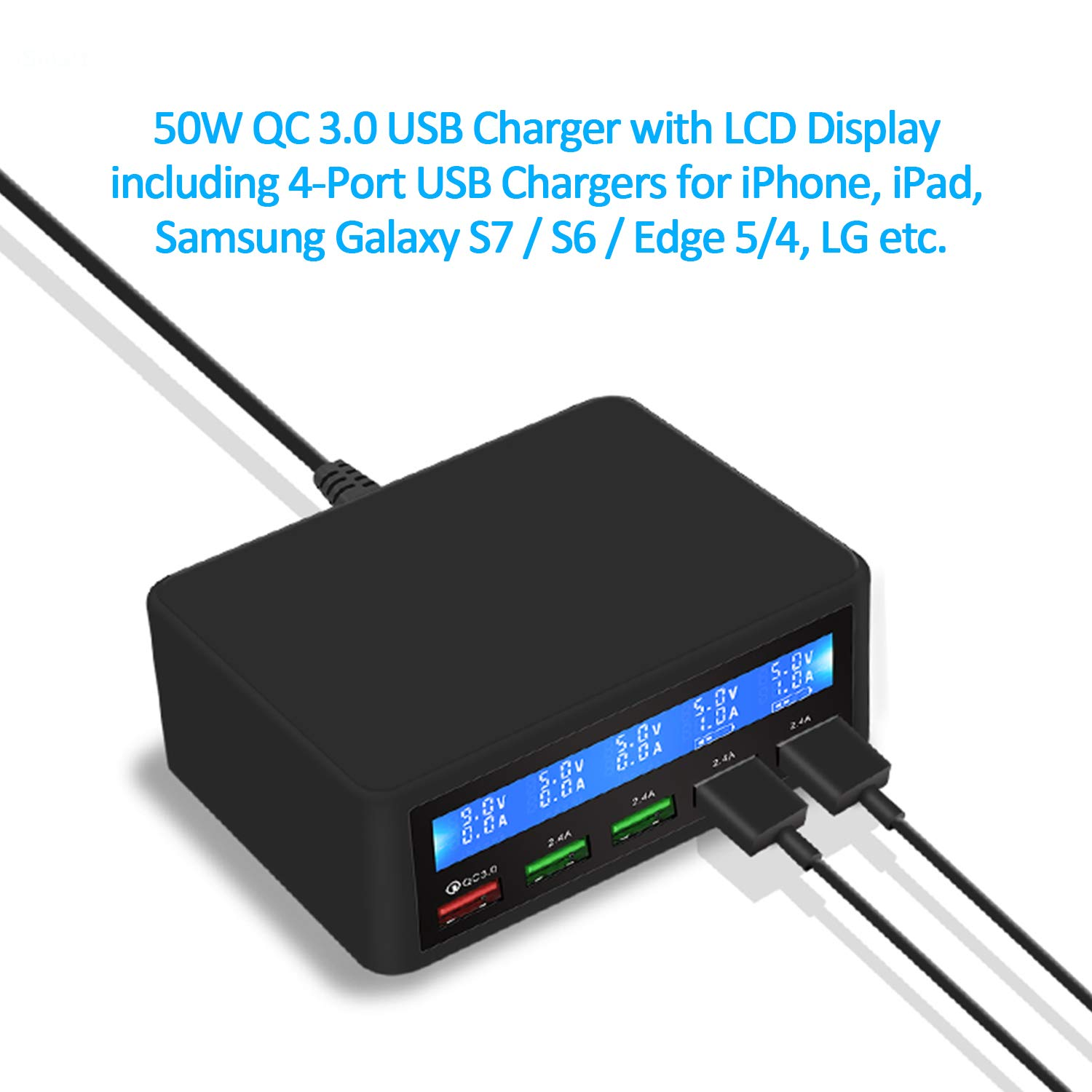 MSM 50W QC 3.0 USB Charger with LCD Display including 5-Port USB Chargers