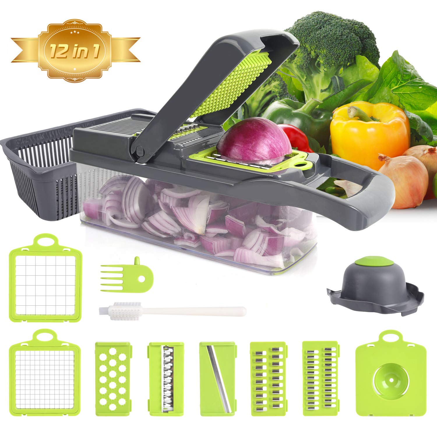 Mandolines Vegetable Choppers Slicer – XREXS 12 in 1 Multifunction Veggie Slicer