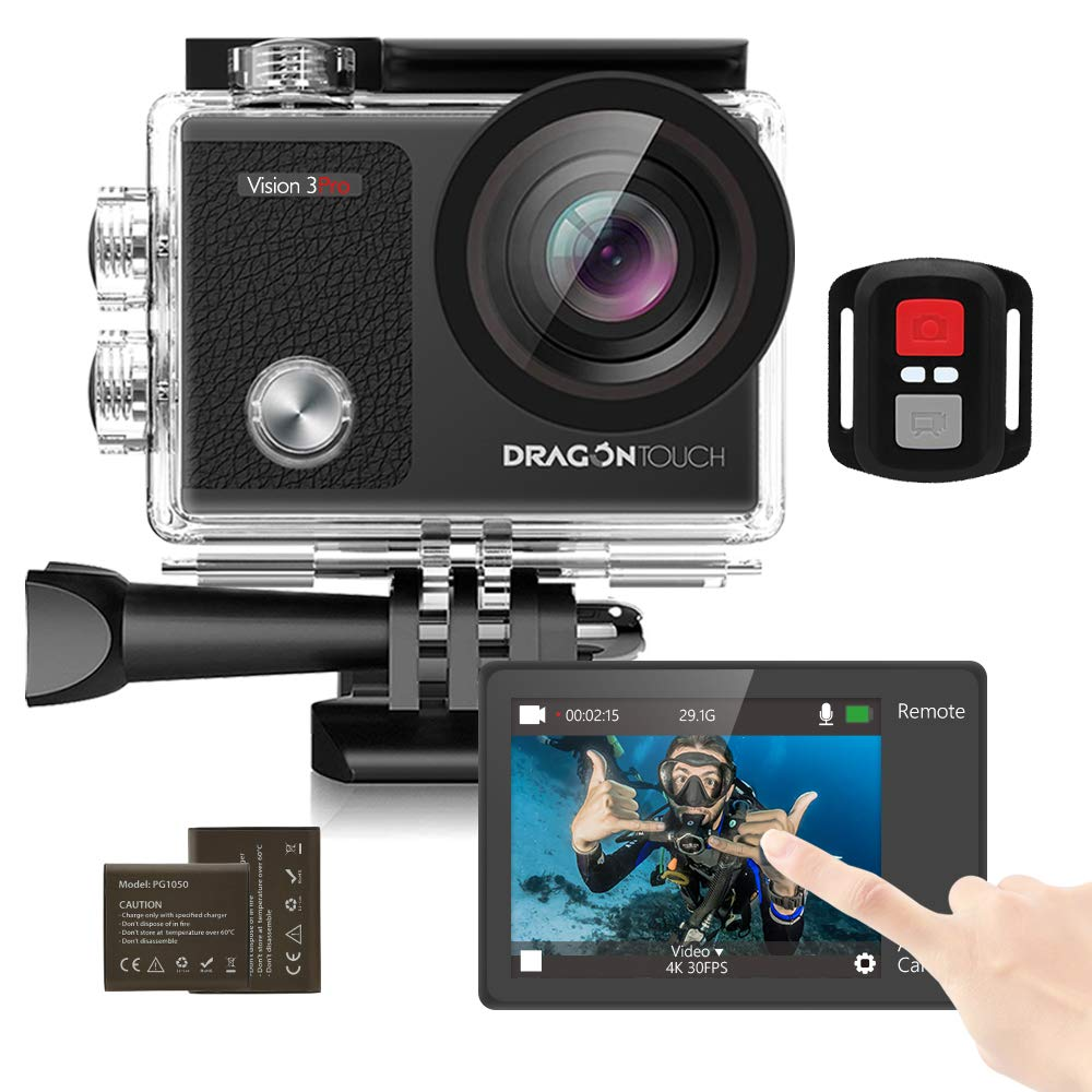 Dragon Touch Touch Screen Action Camera, 4K 16MP Underwater 100ft Waterproof Camera