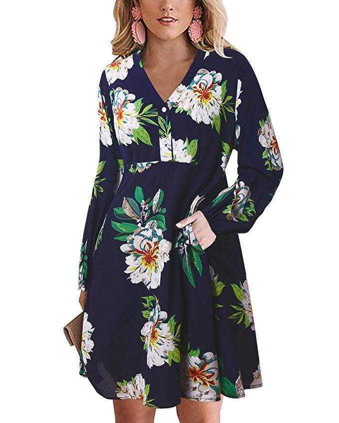 GIKING V Neck Floral Print Midi Dress Long Sleeve A Line Dresses with Pocket