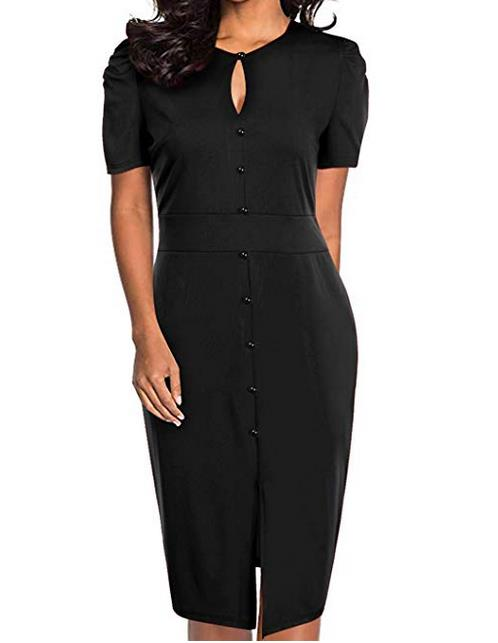 Women Keyhole Pencil Dress Short Sleeve Bodycon Midi Office Ladies Work Dresses
