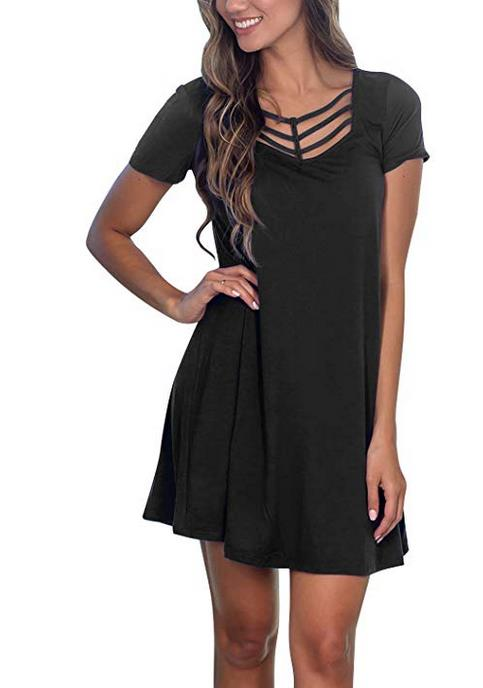 Women's Short Sleeve T Shirts Dresses Summer Casual Swing Tunic Dress