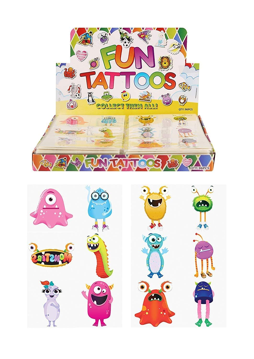 HENBRANDT Monsters Temporary Tattoos for Children 24 Assorted Designs
