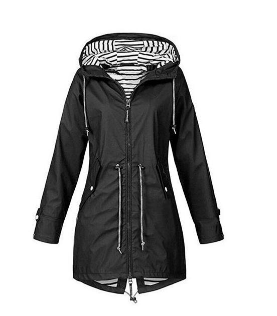 Women Windbreaker Transition Jacket Long rain Jacket with Hood, Breathable Jacket