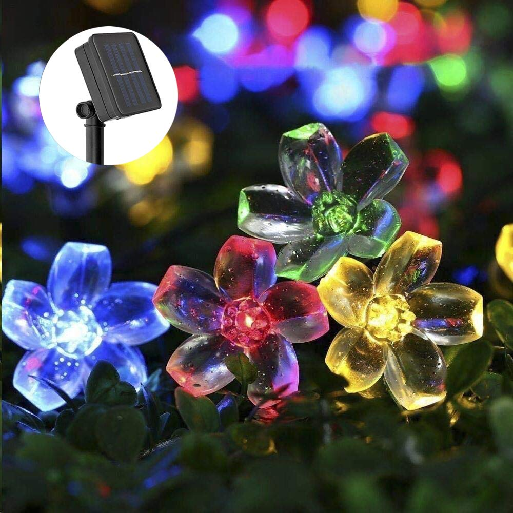Solar Fairy Lights Outdoor, ECOWHO Flower Fairy String Lights 50 LED IP65 Waterproof 23ft