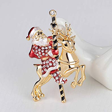 CUIGU Christmas Brooch Pins Ring Bell Rhinestone FREE delivery
