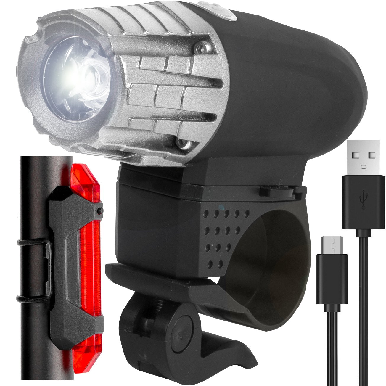 Harcas Bike Lights Set Super Bright LED Front and Rear Cycle Lights. USB Rechargeable.