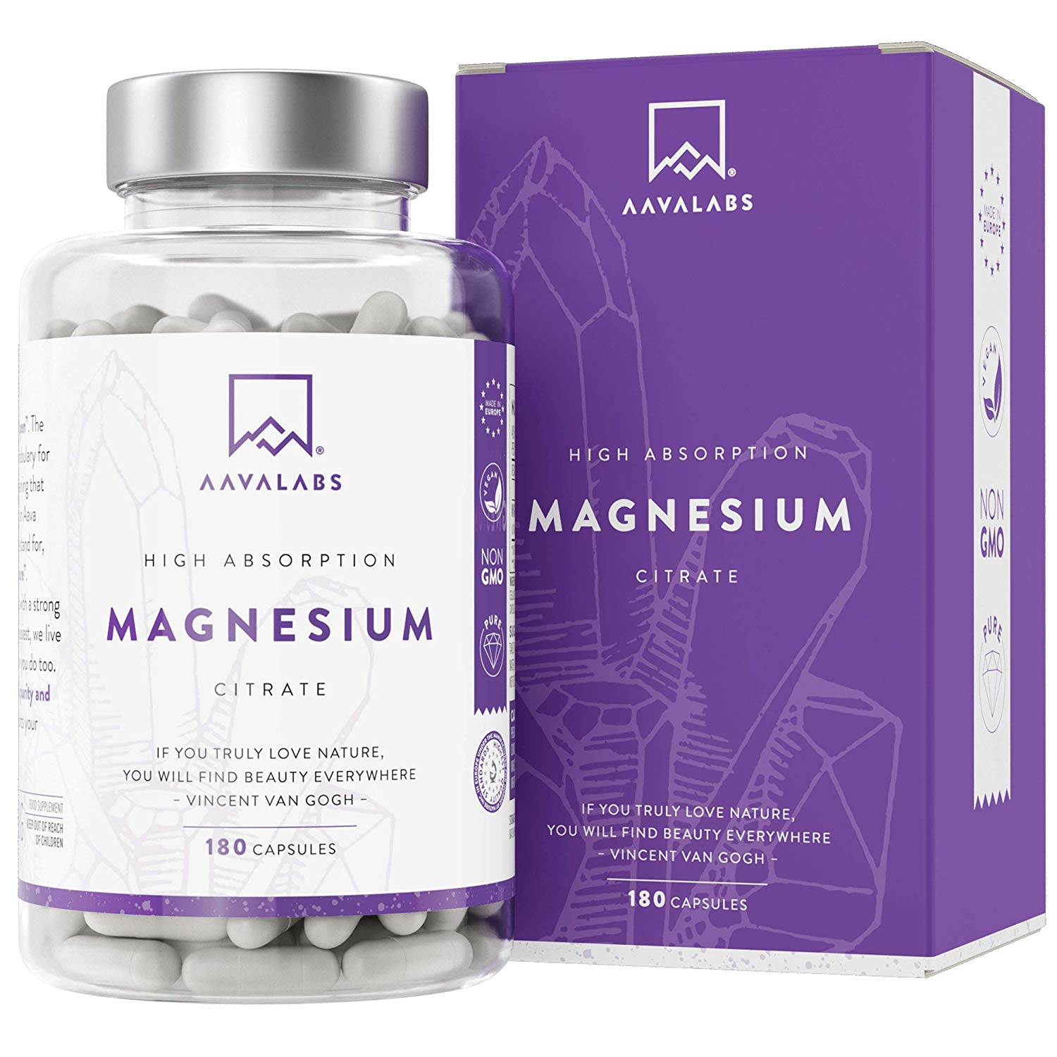 Magnesium Citrate Supplement [ 400 mg ] 180 Caps– Pure & Non-Buffered – 100% Vegan and Non-GMO