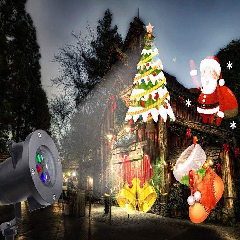 Christmas Projector Lamp Xmas Santa Claus Landscape Waterproof Led Stage Spotlight Lights